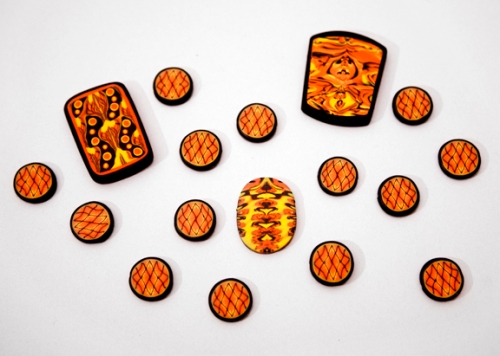 Flame cane beads and pendants